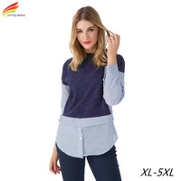 Plus Size Women Clothing 2016 Autumn Winter Patchwork Knitted Body Shirt For Woman Euro Style Long