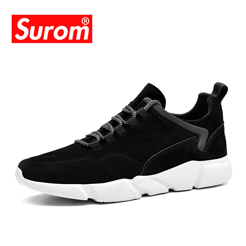 SUROM Men's Casual Shoes Breathable Men Shoes Lightweight Sneakers Brand Lace up Designer Flats Krasovki men shoes summer breathable lace up mesh casual shoes light comfort outdoor men flats cheap sale high quality krasovki