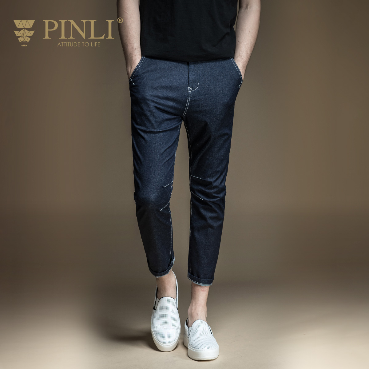 PINLI products made in the summer Mens wear blue cotton feet stretch denim trousers D172216007 mens trousers