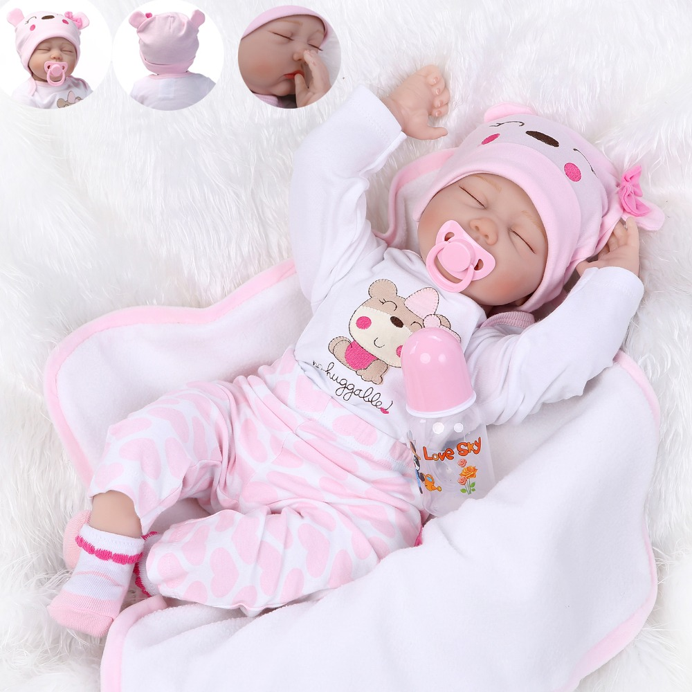 NPK 55cm Realistic Dolls Reborn Baby Doll Hair Rooted Soft Silicone 22inch Lifelike Newborn Playmate For