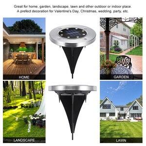 Image 4 - 4 sztuk RGB słonecznego lampa gruntowa wodoodporna ogród ścieżka światła pokładowe z 8 diody led Solar lampy dla domu stoczni podjazd trawnik drogowego