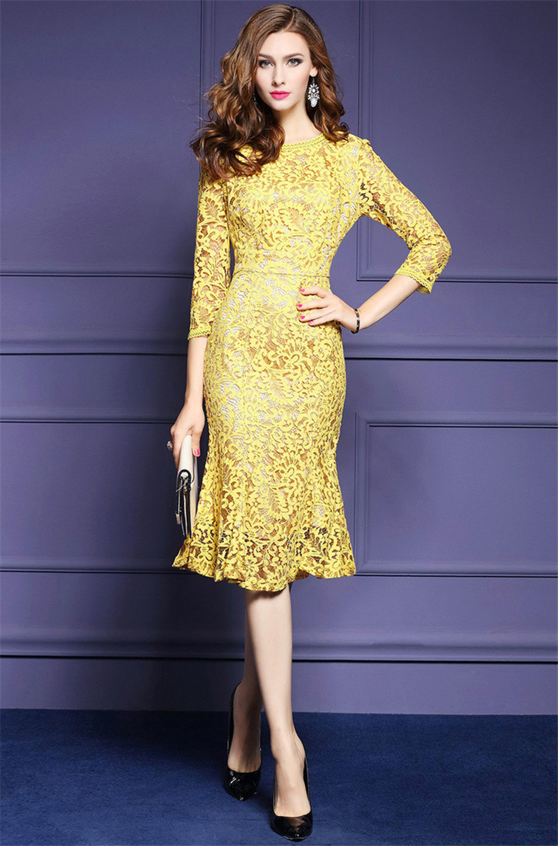 Us 3477 27 Offnice High Quality Spring Dresses 26 Sleeve Yellow Lace Dress For Women Elegant Office Business Party Bodycon Women Dress In Dresses
