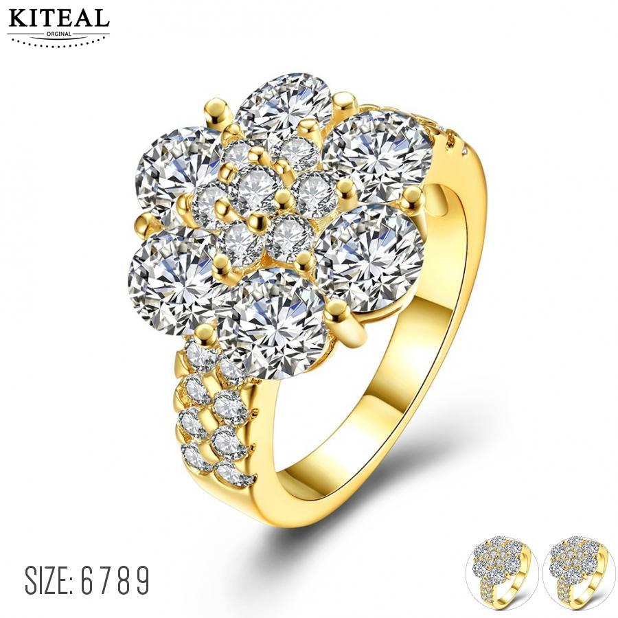 KITEAL New Arrival!! Gold color Yellow/White color White size 6 7 8 9 rings for female round zircon ring men joias