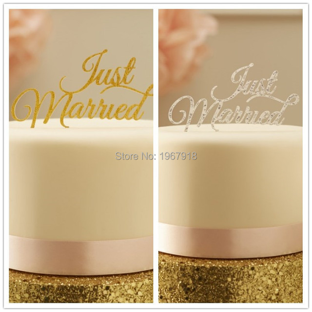 6 Teile Los Just Married Goldene Acryl Hochzeitstorte Topper