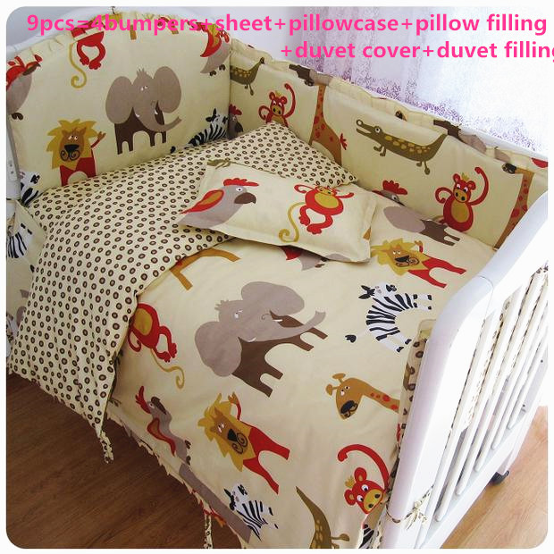 Здесь можно купить  2017! 6/7pcs Baby Bedding Set Newborn Crib Bedding Cartoon Elephant Bumpers Duvet Cover,120*60/120*70cm  Детские товары