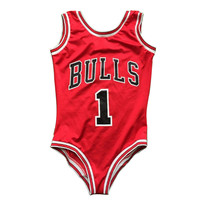 Red One Piece Swimsuit Sexy Girl Women Brand Bulls Basketball Team Fans 3D Print One Piece