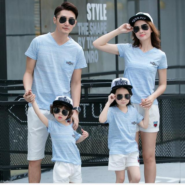 0dfca74a203 summer 2017 mother and daughter clothes family look blue boys shirts v neck  t-shirts for girls father son white short pants
