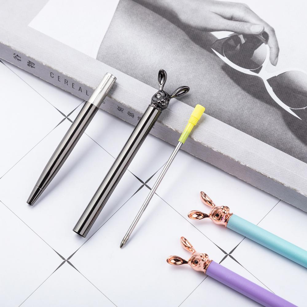 1pcs Kawaii Ball Pens Metal Ballpen Rabbit Dree Ballpoint Pens Student Pens For School Stationery Office Supplies 1 0mm in Ballpoint Pens from Office School Supplies