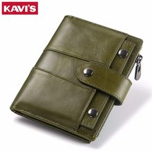 KAVIS Genuine Leather Women Wallet and Purse Female Small Portomonee Lady Money Bag Coin Purse Card Holder Perse Green for Girl(China)