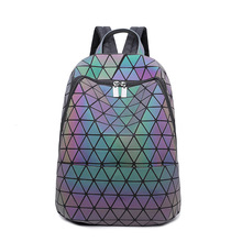 2018 Fashion Issey Miyake Geometric Women Backpack Sequins Mirror Saser School Bagpack Luminous Noctilucent BaoBao