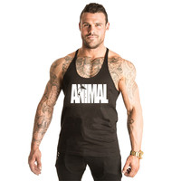 Gym Clothing Men Bodybuilding Gym Tank Top ANIMAL Word Pattern Men Fitness Sleeveless Shirts Sports Muscle