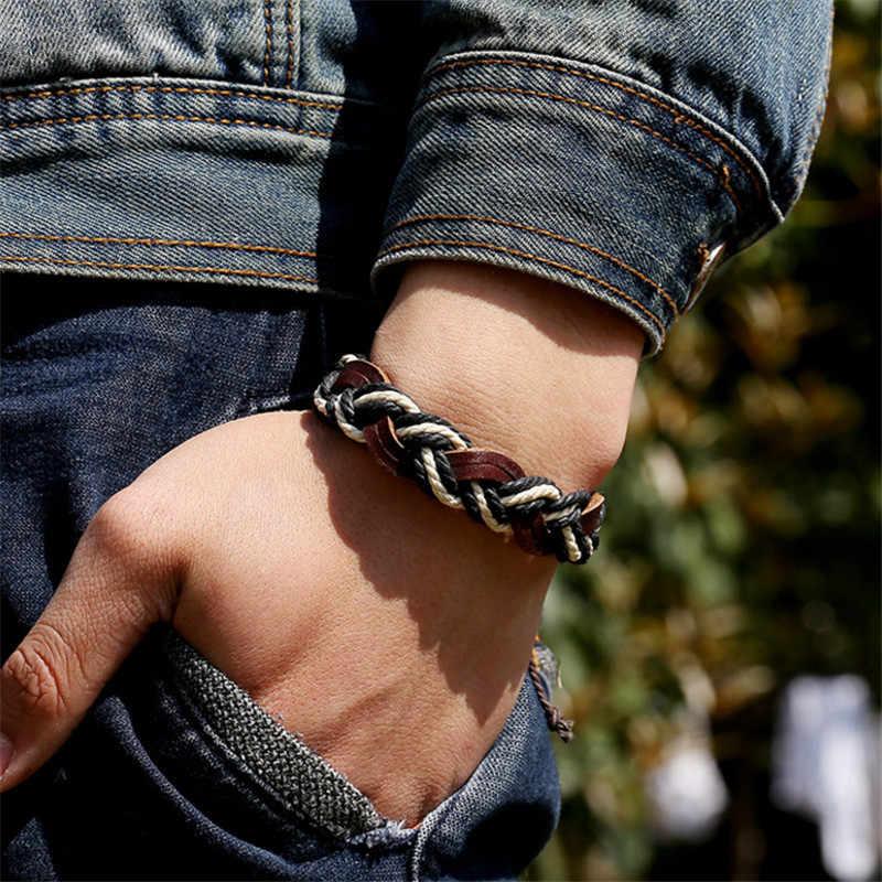 עור כותנה חבל מתכוונן גברים נשים זול ססגוני רב שכבתי צמיד יד בגדי אביזרי צמידי תכשיטים