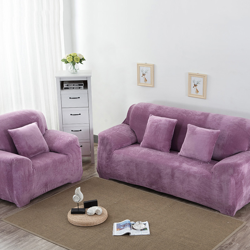 High Quality Solid Plush Sofa Cover Elastic Sofa Slipcover Autumn and Winter Sectional Couch Covers Single/Two/Three/Four-seater