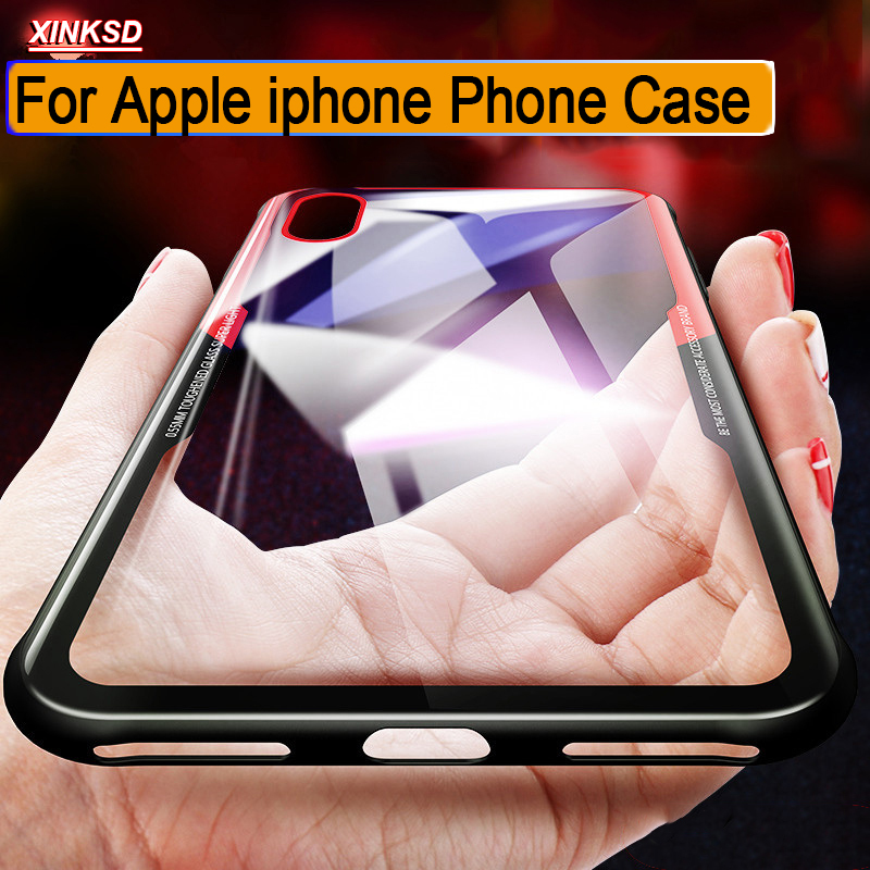 Emulate Tempered Glass Phone Case for iPhone 6 6S 7 8 plus Protective Mobile Cle