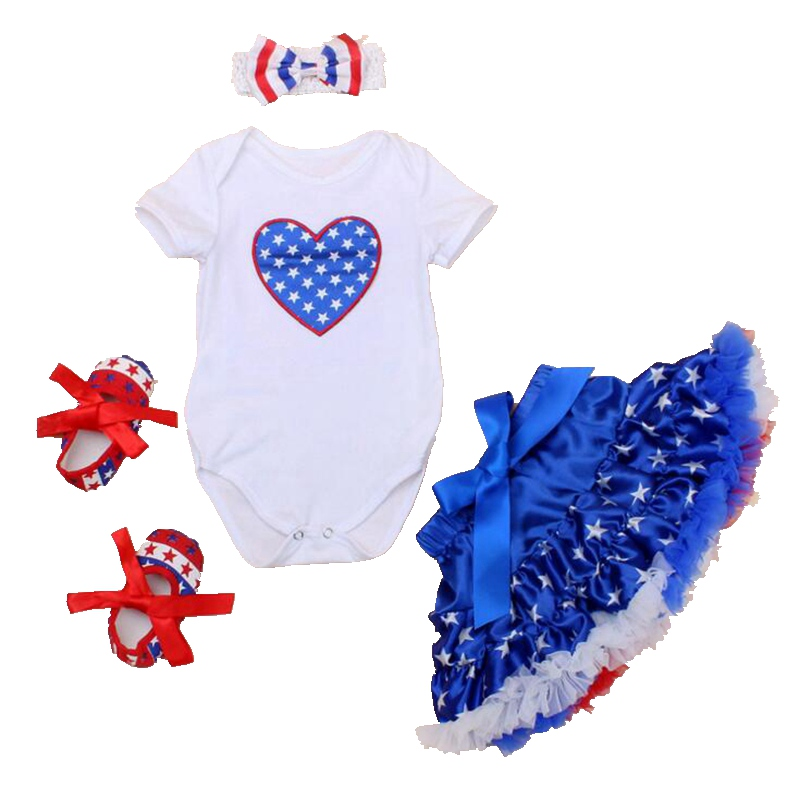 Love Stars 4th Of July Baby Girl Summer Clothing Sets Fantasia Infantil Bodysuit Skirts Kids Party Dresses Girls Clothes 2016 the love of clothing care 000001