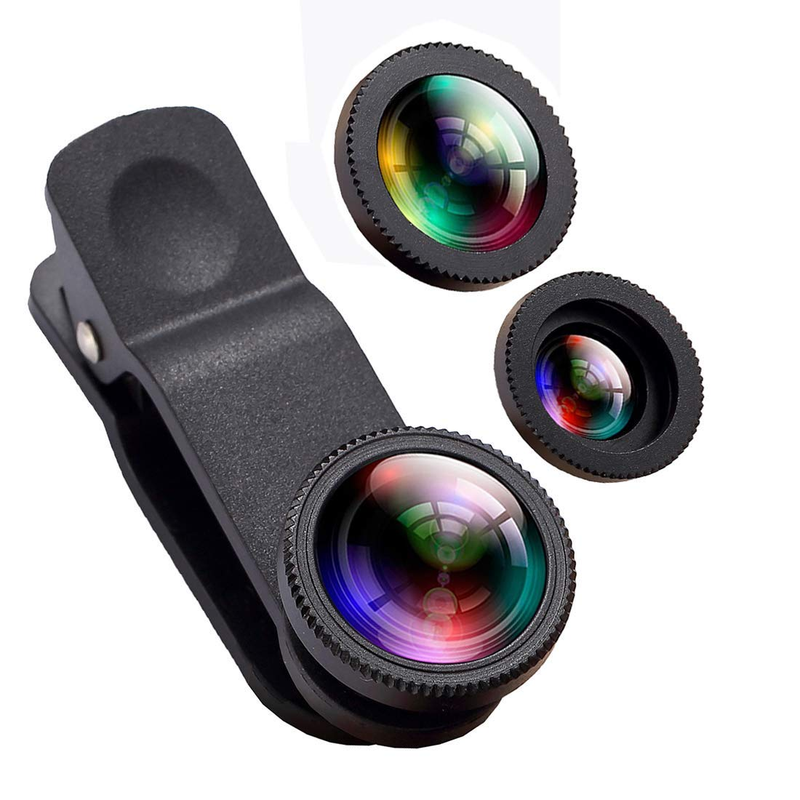 3 in 1 Phone Lens 180 Degree Fisheye 10X Macro 0.65X Wide Angle Lens