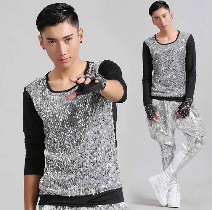 스플 라이스 패션 펑크 슬림 섹시한 스팽글 셔츠 남성 긴 소매 십대 한국어 셔츠 남성 성격 무대 가수 댄스