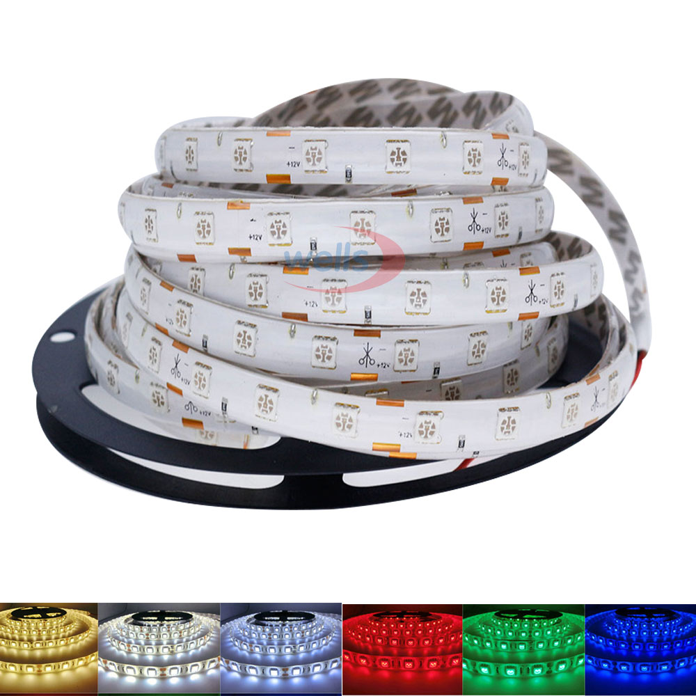LED12V SMD 5050 60LEDs/m 5m White PCB LED Light UV/Red/Green/Yellow/Blue/White/Warm White/Pink/RGB Flexible Led Strip