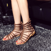 Jookrrix 2018 Summer Girl Western Style Fashion Brand Lady Sandals Flats Shoes Women Real Leather Gladiators