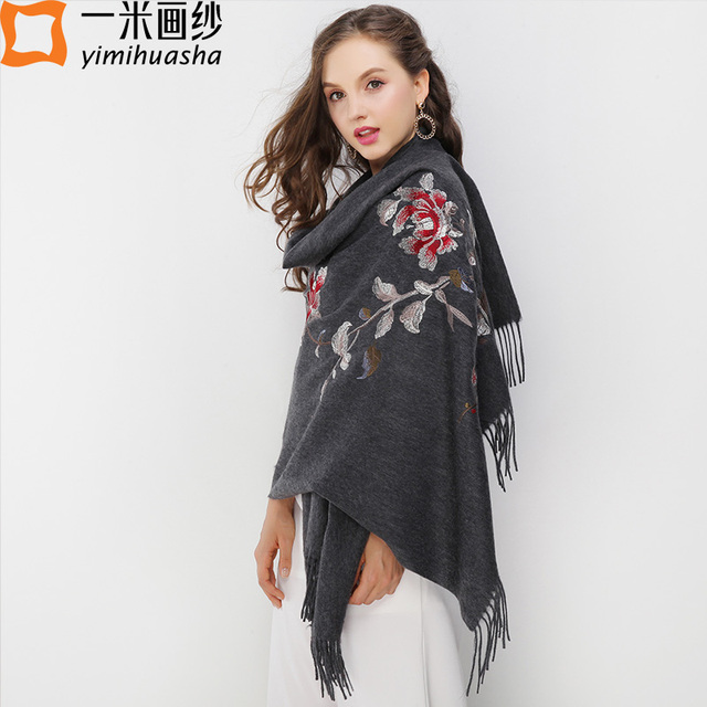 7c3025b60e8af elegant ladies stoles flowers embroidery women poncho winter thick warm  wool cashmere shawls top quality blanket scarf tassels