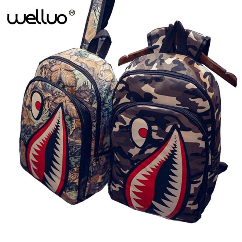Green Fields Store 2016 New fashion BackPack The shark mouth Hippie pop backpack Casual Daypacks women travelling school Backpack Mochila XA1093B