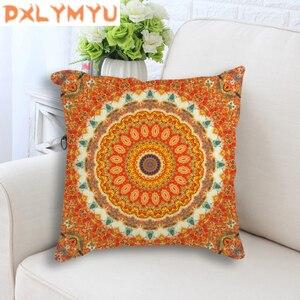 Housse de coussin de style bohème | Imprimé de Mandala, housse de coussin décorative en coton et lin pour canapé, housse d'oreillers de maison