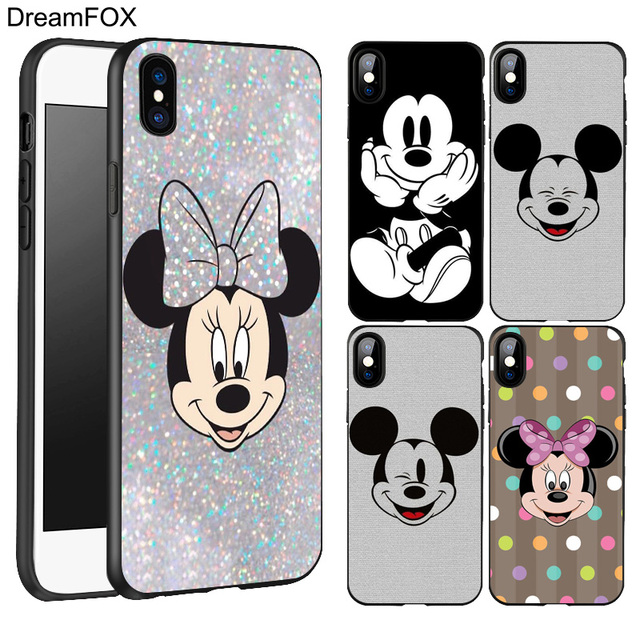 best service 4ba5b 615de US $1.0 37% OFF|DREAMFOX L136 Cute Fashion Mickey Mouse Black Soft TPU  Silicone Case Cover For Apple iPhone XR XS Max X 8 7 6 6S Plus 5 5S 5G  SE-in ...