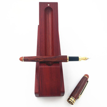 One Set Luxury Fountain Pen with Case from Nature Red Wood Wooden Pencilcase 0.5 mm Nib Ink Pen Stationery Gift Joy Corner