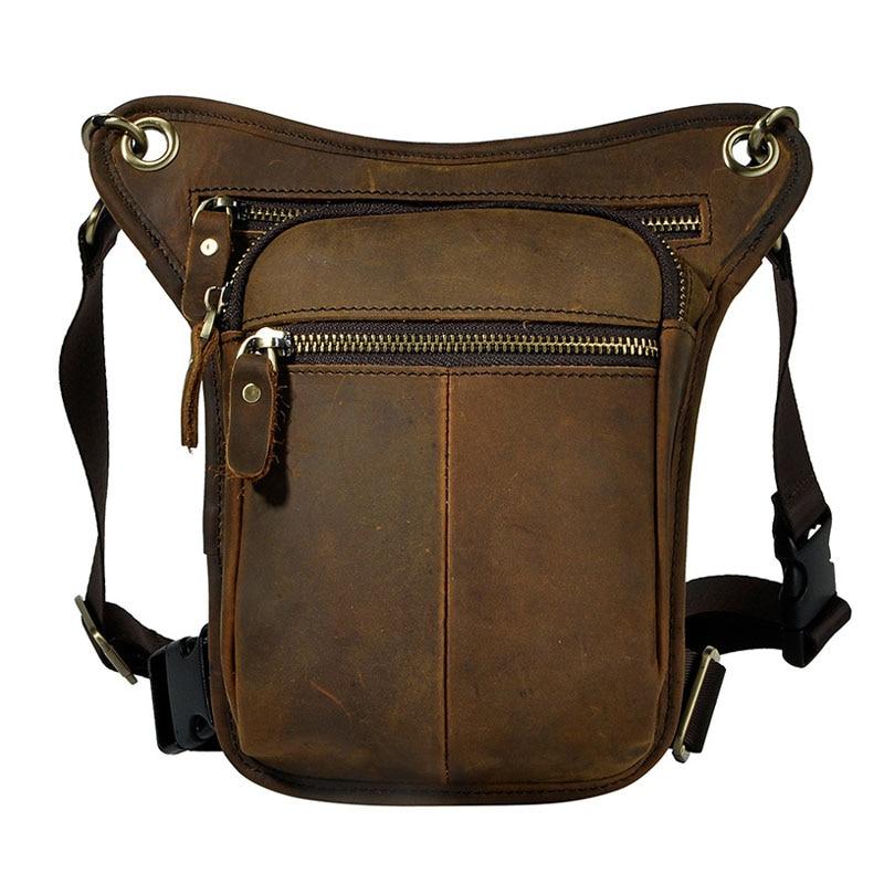 все цены на Men's Vintage First Layer Cowhide Genuine Leather Drop Leg Fanny Waist Pack Belt Hip Bum Messenger Cross Body Shoulder Bag онлайн