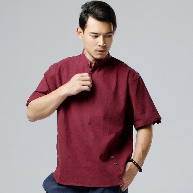 58c4f570282 Summer cotton linen men s shirts short sleeve Pullover plus size casual  men s shirt soft comfortable tops