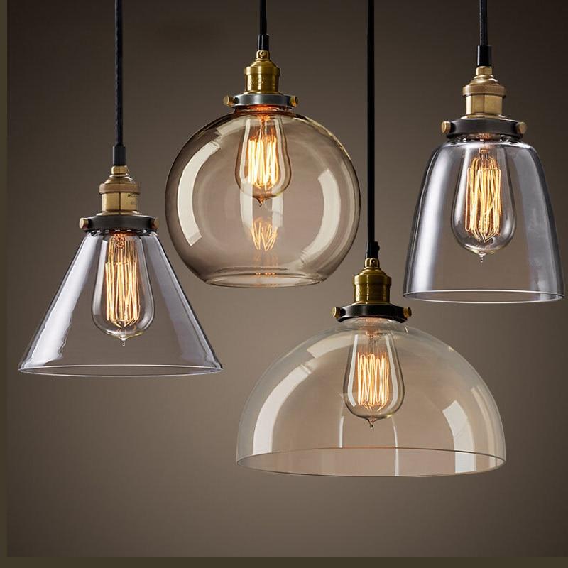 Buy Modern Clear Glass Pendant Light E27 110 220v Edison Bulbs Hanging Lamps