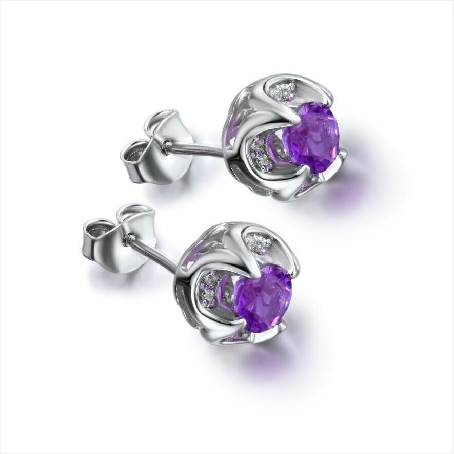 925 sterling silver earrings female temperament Korean flower white gold plated amethyst J0151 in Earrings from Jewelry Accessories