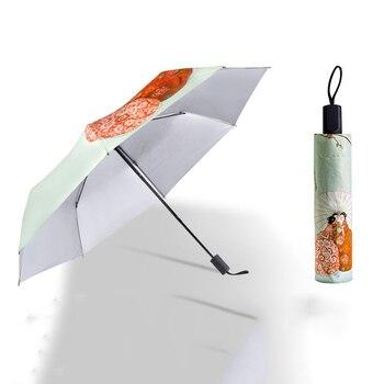 Japanese Style Anti-UV Umbrella Three Folding Umbrella Windproof Folding RainSun Umbrellas Outdoor Women Parasols 7D Parasols & Rain Umbrellas