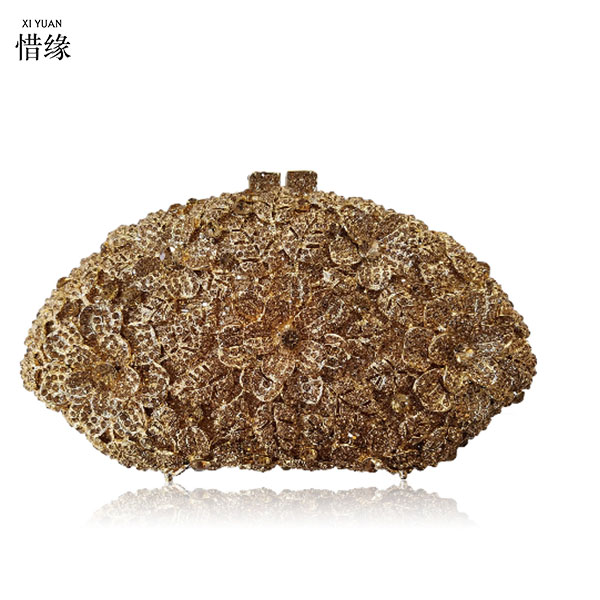 XIYUAN BRAND Newest fashion women Valentine's Day evening bag Luxury Rhinestone clutch crystal handbags party purse wedding bag newest fashion women evening bags luxury gold rhinestone clutch crystal handbags party purse wedding bag good sales smyzh e0317