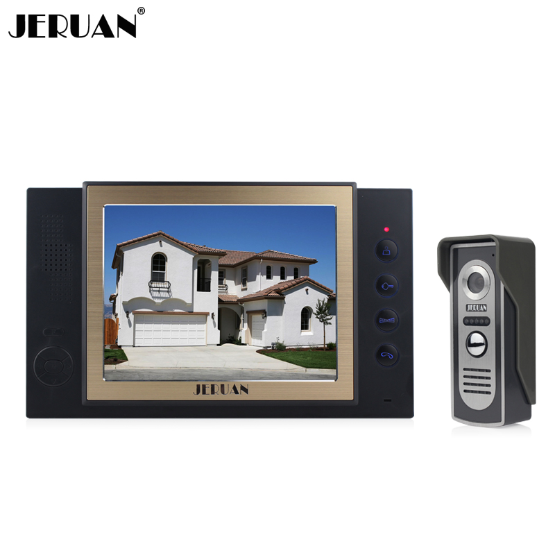 JERUAN 8 inch video door phone 1 monitor 1 camera rain-proof intercom system with video recording and Photo storage function jeruan 8 inch video door phone high definition mini camera metal panel with video recording and photo storage function