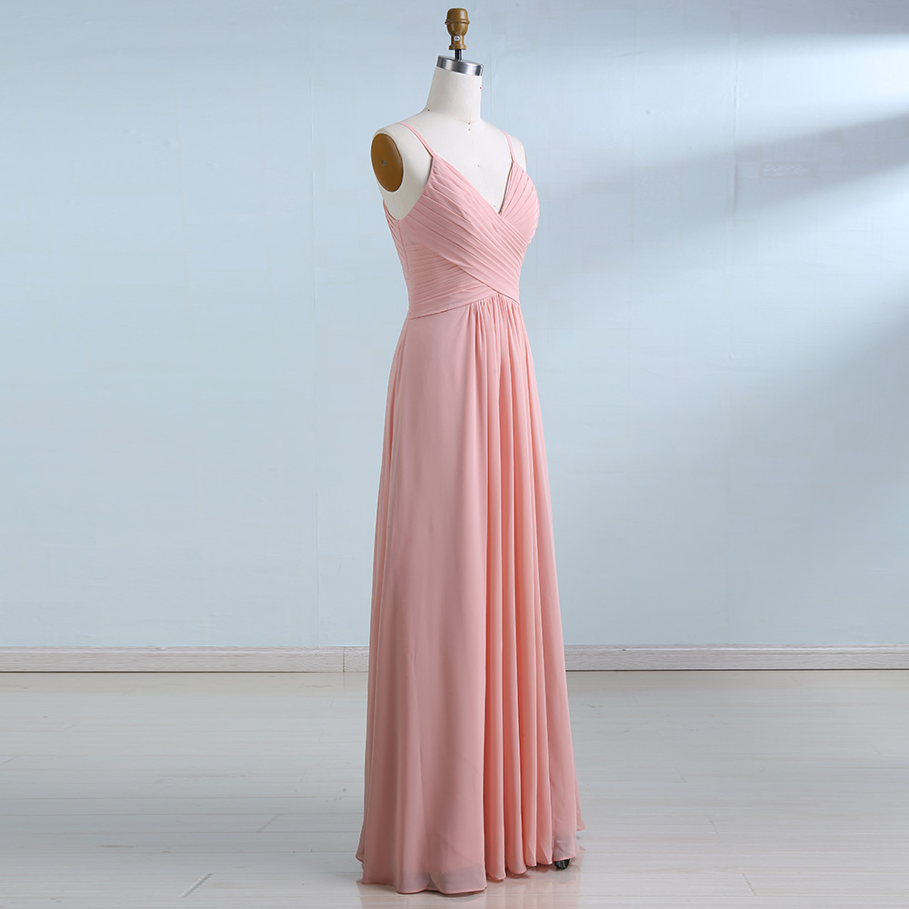 BeryLove Long Simple Blush Pink Prom Dresses 2018 Pleated Chiffon ...