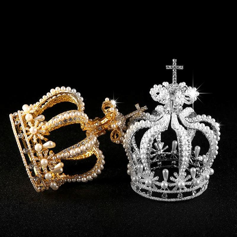 Royal Crystal Pearl Big Crown Gold Silver Rhinestone Bridal Tiaras Womens Headand Vintage Baroque Crown Wedding Hair Accessories