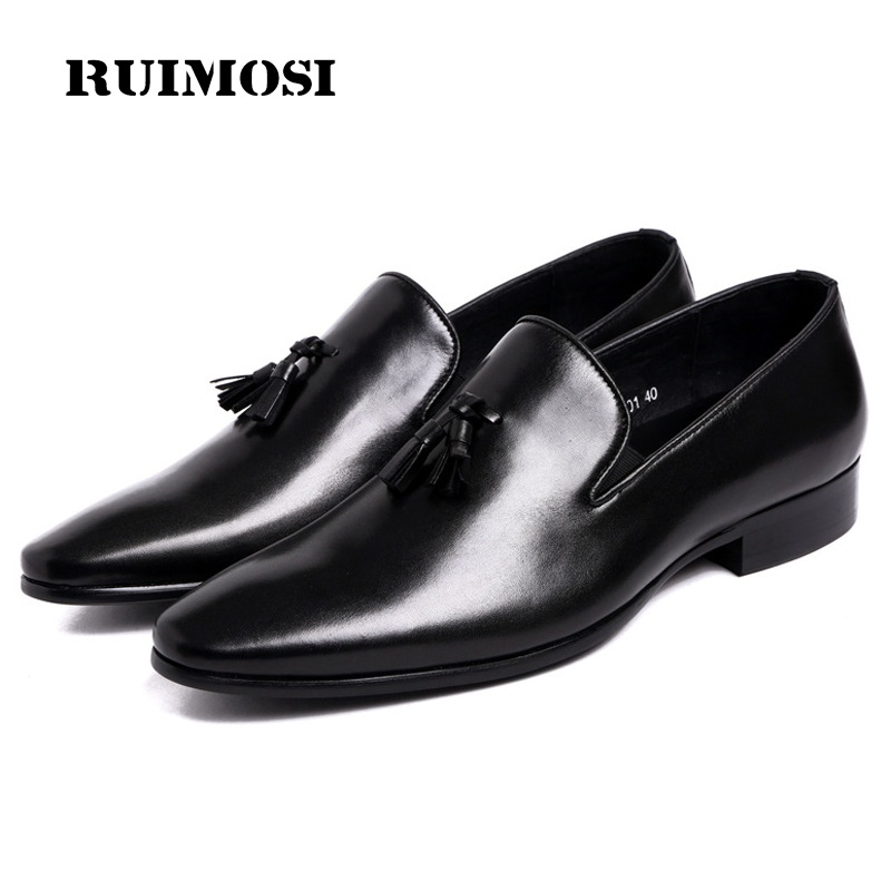 RUIMOSI Pointed Toe Tassels Man Casual Shoes Genuine Leather Male Slip on Loafers Designer Brand Comfortable Men's Flats TH70