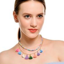 цена на Tassel Necklace Retro Ethnic Style Tassel Necklace Fashion New Color Tassel Multi-layer Clavicle Chain Necklace
