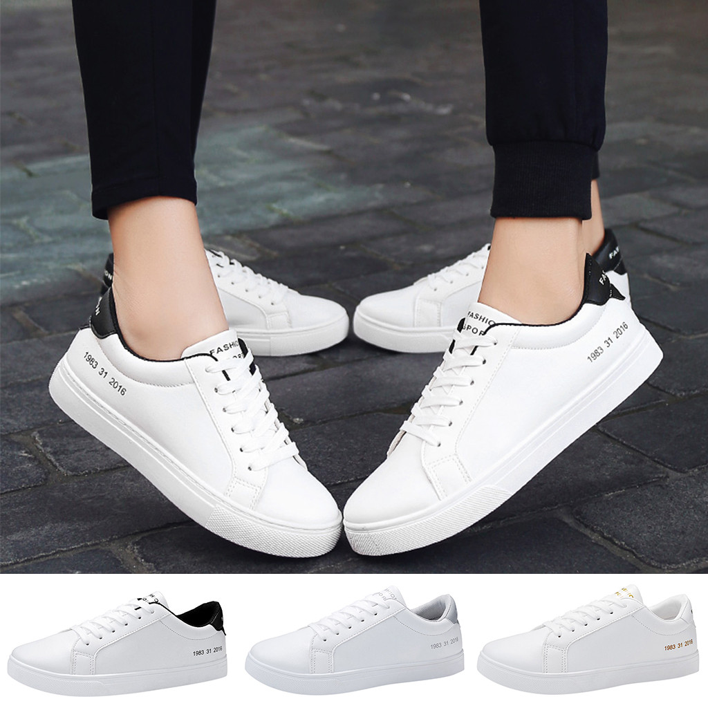 MUQGEW White Platform Trainers Women Mens Couples Casual Lace Up Breathable Sport Running Sneakers Board Shoes #0704