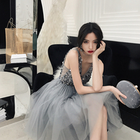 women dress sequins banquet 18th birthday party celebrity temperament fairy dream dress sleeveless above knee,mini