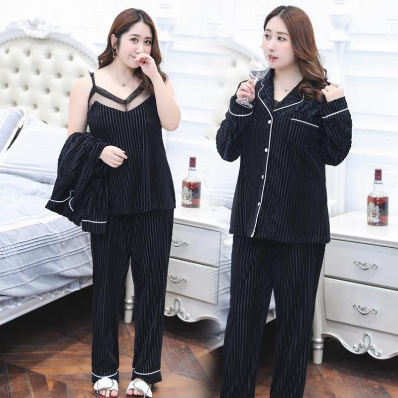 Nieuwe Zwarte 3 STKS Cami & Broek & Shirt Thuis Slijtage Herfst Vrouwen Nachtkleding Set Sexy Mesh Bloem Kraag Vest pyjama Pak Plus Size XXXL