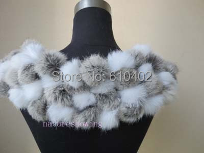 Fashion Women winter warm real rabbite fur Female handmade scarf cape/108 the ball/natural gray with white 11#