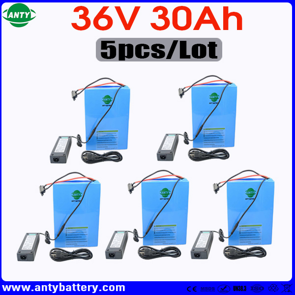 Wholesale 5pcs/Lot 1800W eBike Battery 36v 30Ah Scooter Battery Built in 50A BMS Lithium Battery with 5pcs Charger Free Shipping