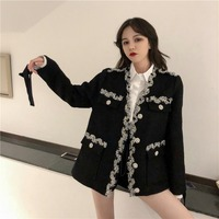 Female Black White Coat V neck Loose Rhinestones Woolen Jacket Lace Spring Autumn Outwear Flower Buttons
