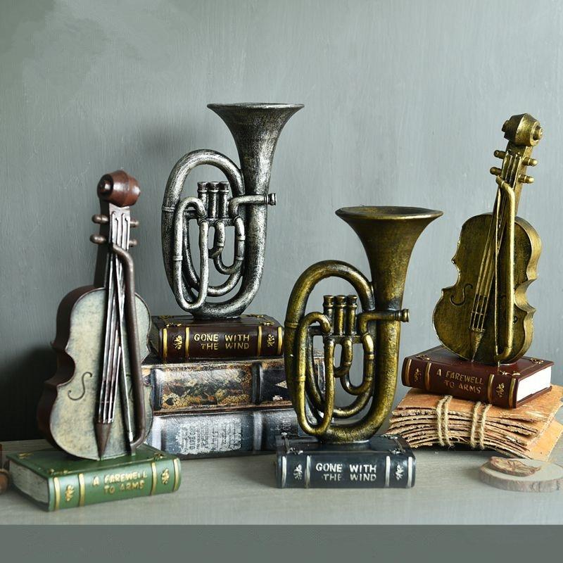 Resin musical instruments violin saxophone model 1pc european style retro nostalgia coffee shop - Wholesale home decor merchandise model ...