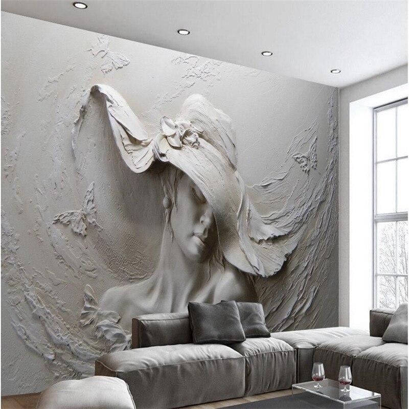 US $15.0  Tapete Benutzerdefinierte Jeder Größe Hintergrund Fotografie Grau  Schönheit Hut Ölgemälde Kunst Bad Wandbild für Wohnzimmer Dekor-in Tapeten  ...