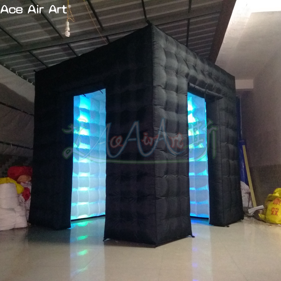 2.4 m logo blanc libre à l'intérieur de la cabine de photo gonflable, auvents de cube de station de photo avec l'éclairage mené sur la remise pour la pologne - 6