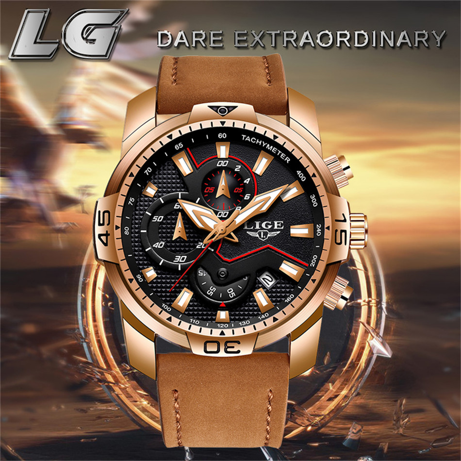 LIGE 2019 Fashion Men's Sport Watch Men Analog Quartz Watches Waterproof Date Military Multifunction Wrist Watches Men Clock+Box