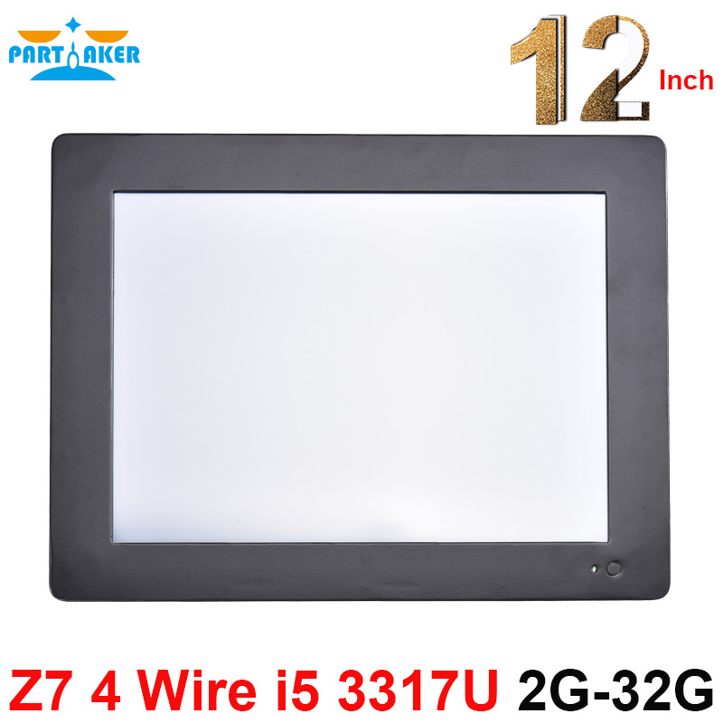 Partaker Z7 Touch Screen Resistive All In One PC With 2MM Slim Panel 2 RS232 12.1 Inch Intel Core I5 3317u 2G RAM 32G SSD